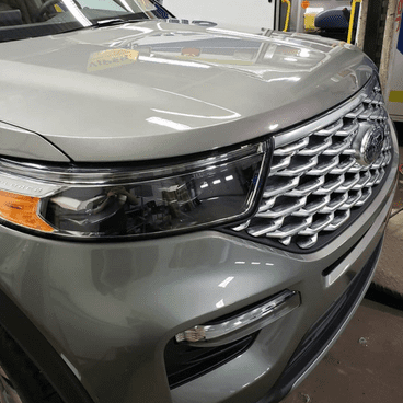 front end of a vehicle with paint protection film