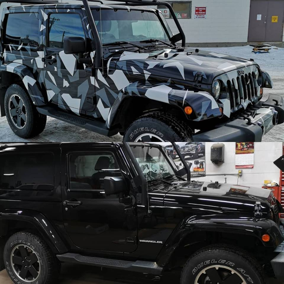 before and after view of a jeep with vehicle wrap