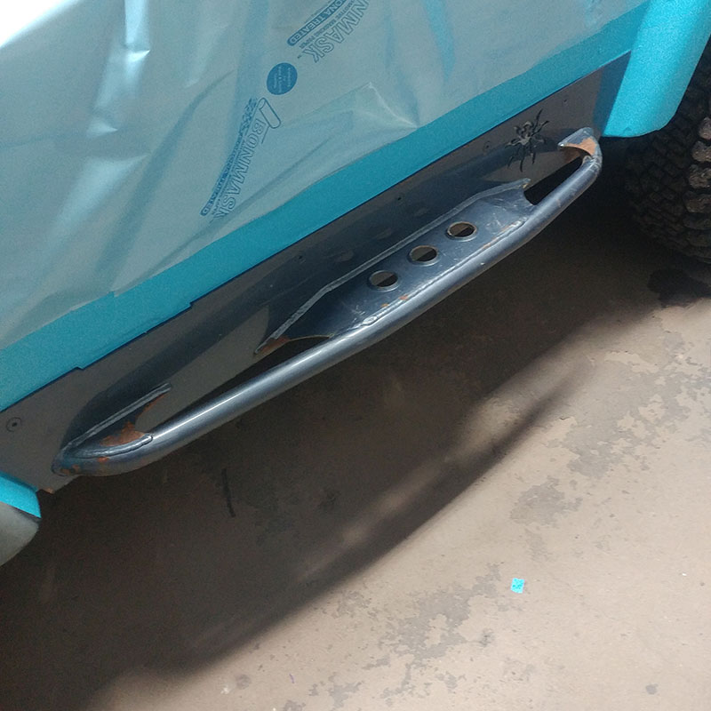 Protective covering prep on truck rail
