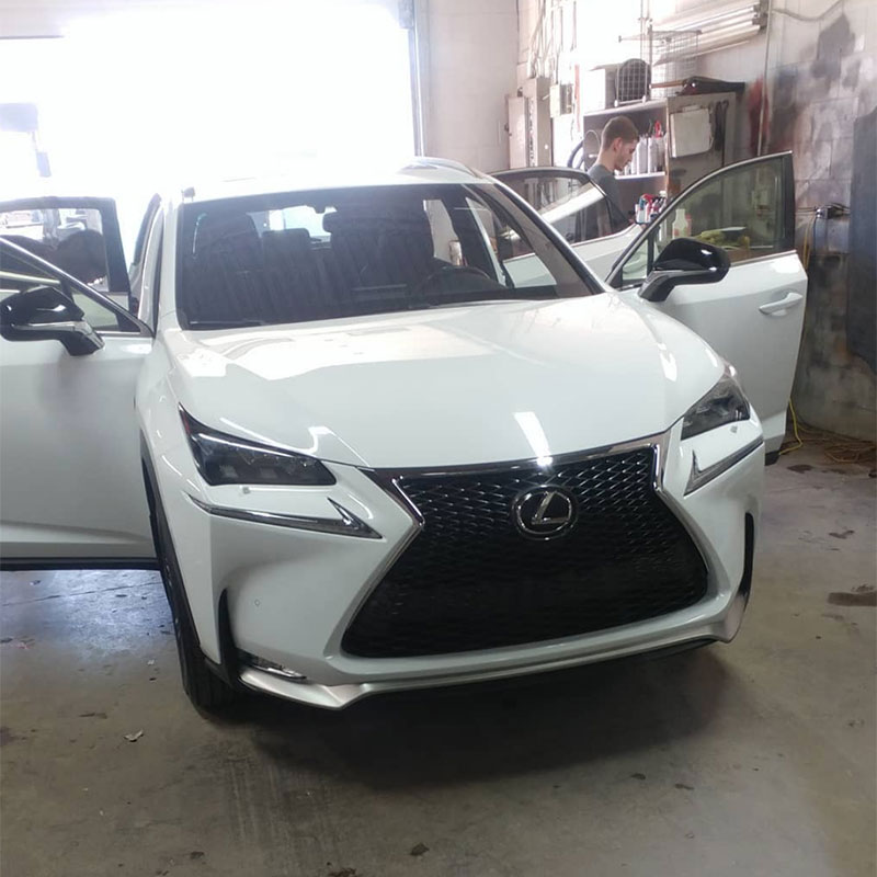 White Lexus in shop